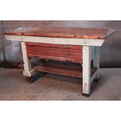 14.  WORKBENCH WITH RED DRAWERS