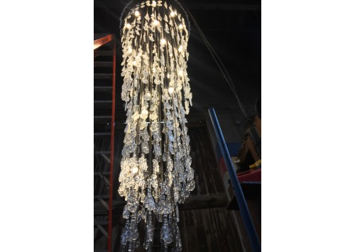 CUSTOM CRYSTAL WATERFALL CHANDELIER - 18'