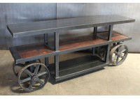 STEEL AND WOOD CREDENZA