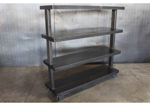4 TIER STEEL SHELVES ON CASTERS