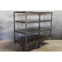 STEEL SHELF W/ VINTAGE CART - TALL