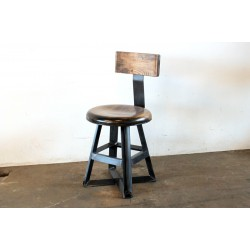 SHORT ANGLE PUB STOOL WITH WOOD BACK