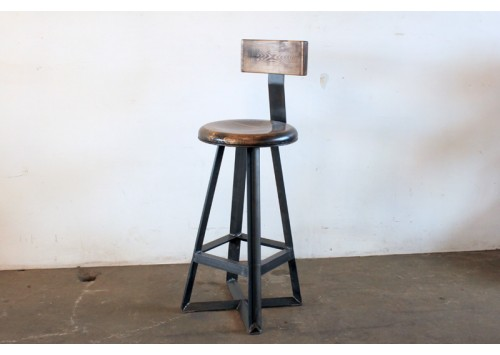ANGLE PUB STOOL WITH WOOD BACK