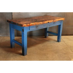 BLUE TABLE - WOOD TOP