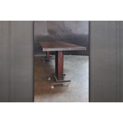 WOOD BEAM BASE BAR HEIGHT TABLE