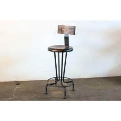 CIRCLE PUB STOOL WITH WOOD BACK