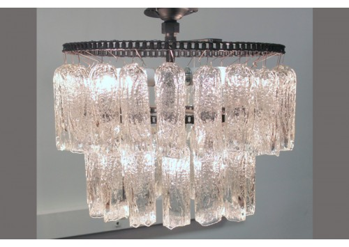 JASON WEIN 2-TIER ROUND TREE BARK CRYSTAL CHANDELIER