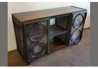 CREDENZA WITH GLASS RONDEL DOORS