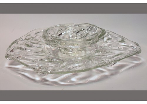 GLASS PLATE W/ SMALL GLASS BOWL