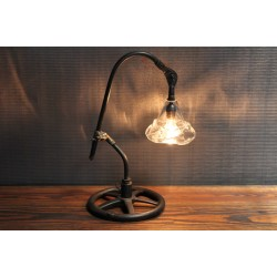 VINTAGE PARTS LIGHT WITH HAND BLOWN GLASS SHADE