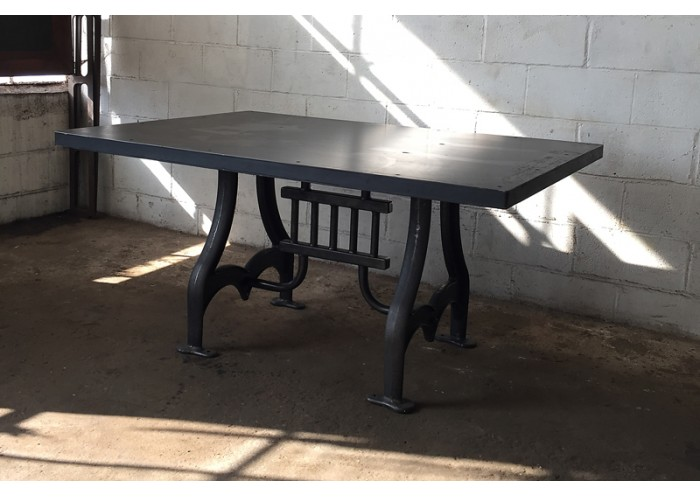 curved cast iron table base w steel top