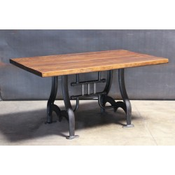 WOOD TOP WITH CAST IRON LEGS