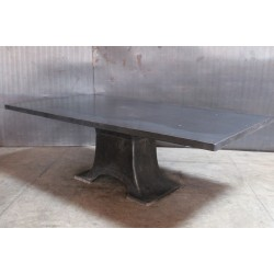 STEEL TOP WITH VINTAGE MACHINE BASE