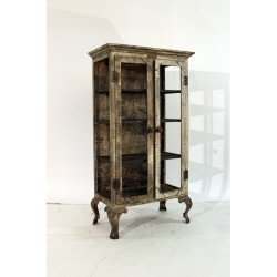 ANTIQUE MEDICAL CABINET WITH WOVEN STEEL SHEVLES