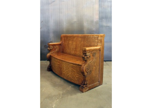 ANTIQUE SOLID OAK BENCH WITH STORAGE