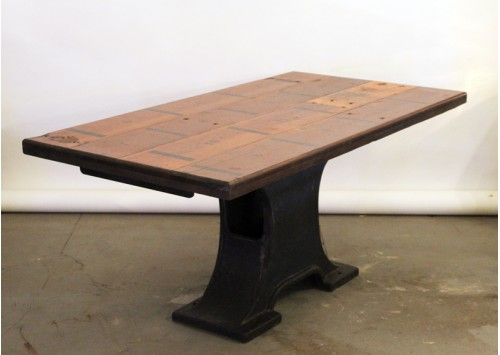 RECLAIMED BLEACHER WOOD MACHINE BASE TABLE
