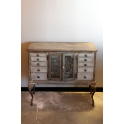 ANTIQUE STEEL DRESSER WITH CUSTOM GLASS
