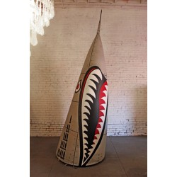 VINTAGE MILITARY NOSE-CONE WITH HAND PAINTED DESIGN