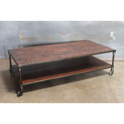 TWO-TIER BLEACHER WOOD COFFEE TABLE