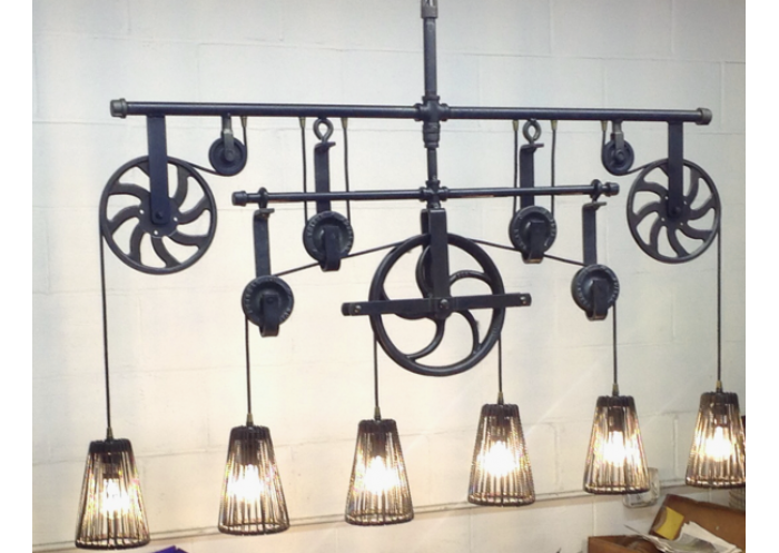 Custom cooper river pulley chandelier aloadofball Image collections