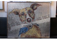 """""""PAPER BOY"""" DOG - RECYCLED CAN ARTWORK"""