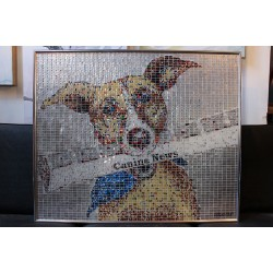 """PAPER BOY"" DOG - RECYCLED CAN ARTWORK"