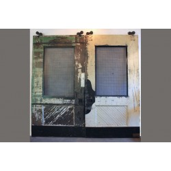 LARGE RECLAIMED BARN DOORS W/ WOVEN STEEL WINDOWS