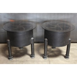 PAIR OF ROUND DECORATIVE TOP SIDE TABLES