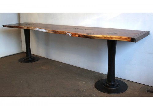 LIVE EDGE PEDESTAL TABLE - BAR HEIGHT