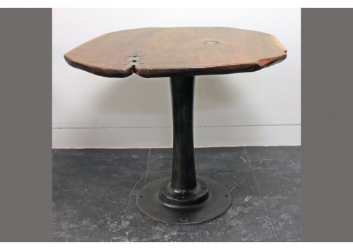 BAR HEIGHT PEDESTAL TABLE - LIVE EDGE WOOD TOP