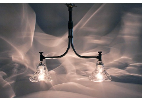HAND BLOWN 2 SHADE LIGHT FIXTURE