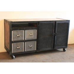 JASON WEIN OFFICE CONSOLE WITH PERFORATED DRAWERS