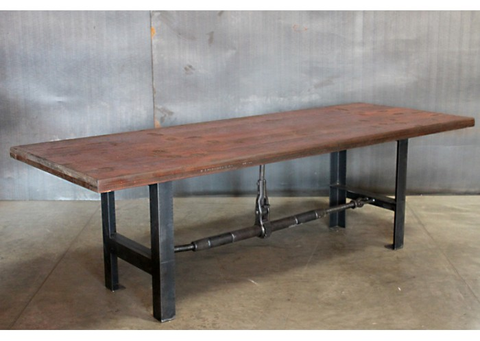Exceptional BLEACHER WOOD TOP VINTAGE STEEL BASE TABLE