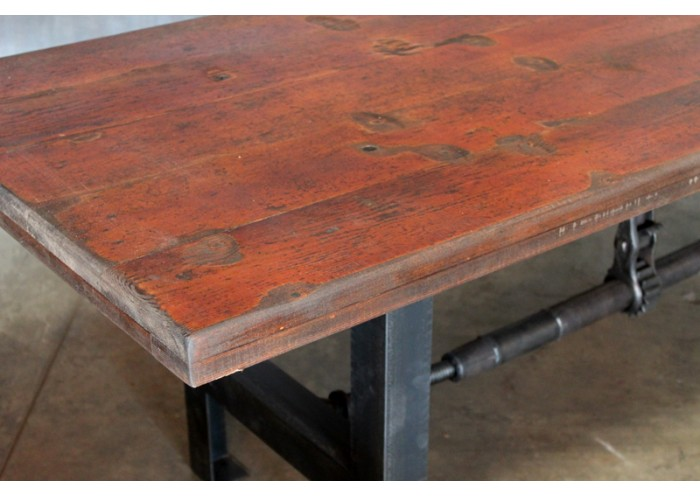 BLEACHER WOOD TOP VINTAGE STEEL BASE TABLE