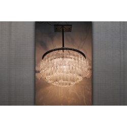 JASON WEIN 3-TIER ROUND TREE BARK CRYSTAL CHANDELIER