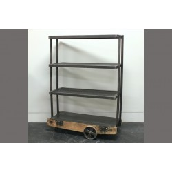 WIRE MESH SHELF W/ VINTAGE CART