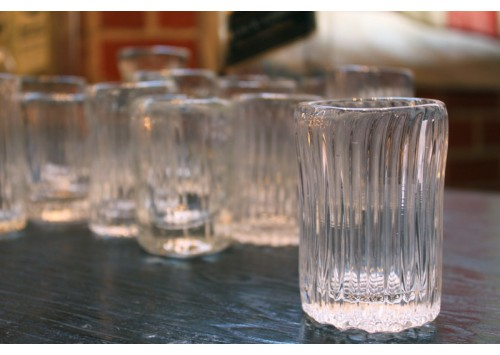 TRACTOR HAND BLOWN SHOT GLASSES