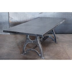 RECLAIMED STEEL TOP / VINTAGE CAST BASE TABLE