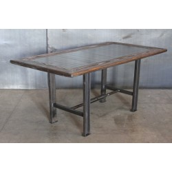 STEEL TOP TABLE WITH WOOD TRIM
