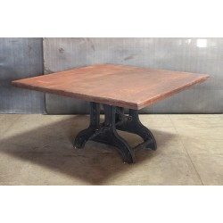 SQUARE WOOD TOP TABLE W/ CRANK BASE