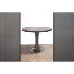 BAR HEIGH PEDESTAL TABLE - STEEL TOP