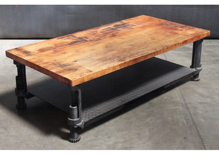 Wood Top Adjule Steel Base Coffee Table