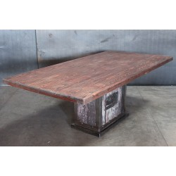 RECLAIMED WOOD TOP / WOOD & STEEL BASE