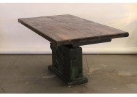 MACHINE BASE TABLE W/ RECLAIMED BLEACHER WOOD