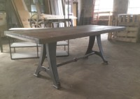 BLEACHER WOOD TABLE W/ VINTAGE LEGS