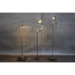 WOODWARD VINTAGE MACHINE ARM FLOOR LAMPS
