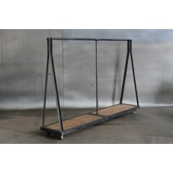 STEEL AND WOOD CLOTHING RACK