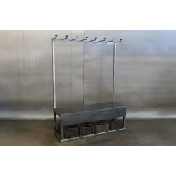 STEEL CLOTHING RACK W/ BENCH