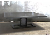 RECLAIMED STEEL TOP TABLE W/ TRAIN BRIDGE BASE