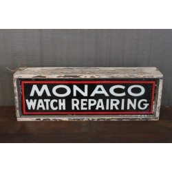 VINTAGE MONACO WATCH REPAIRING SIGN
